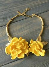 Oscar De La Renta Yellow  Resin Flowers Statement Necklace Signed