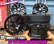 """19"""" VW Transporter T5 T6 DTM Roues en Alliage Noir Brillant & pneus haute charge 815 Kg"""