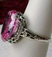 5ct Pink Gem Sterling Silver Edwardian Floral Filigree Ring Size {Made To Order}