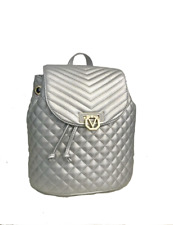 Valentino By Mario Valentino Quilted Silver Back Pack