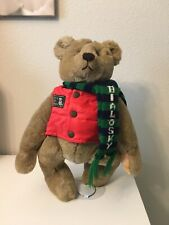 "Vintage Bialosky by Gund 1982 Teddy Save the Bear Plush 18"" Red Vest Green Scarf"