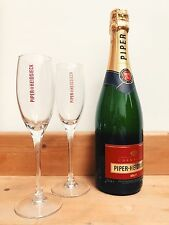 Piper Heidsieck Brut Luxury Champagne Gift Set w/ Branded Glass Champagne Flutes