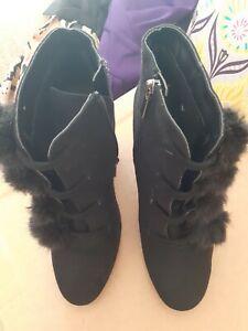 Black Size 4 Boots With Black Pom Poms Ex/condition  Faux Suede