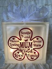 Glass Light Block Lamp Flower Mum Nan Words Mother's Day Birthday Gift