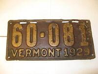 1929 29 Vermont VT License Plate 60-081