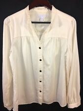 Charter Club Women'S Size 16 Blouse Ivory Textured L/S Decorative Button Front