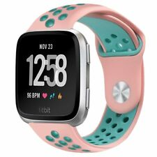 For Fitbit Versa Band Soft Perforated Sport Strap Adjustable Size Holes Pink New