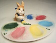 Fitz and Floyd Easter Bunny Painting Eggs Deviled Egg Plate made 1980 No Box