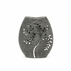 Hestia  Silver Luxe Grey Branch Textured Vase 24cm