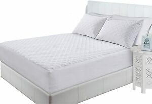 30cm Deep Poly-Cotton Quilted Fitted Mattress And Pillow Protectors