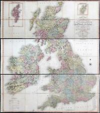 1806 SMITH'S NEW MAP UNITED KINGDOM & IRELAND Three Huge Folded Maps  (FM129)