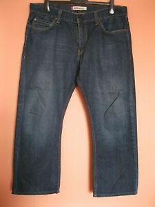 "Levi 506 Standard dark rinse jeans 38W, zip fly, 25"" straight leg (shortened)"