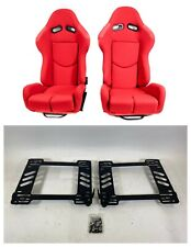 Pair 2 F1spec R1 Red Cloth Racing Reclinable Seats With Sliders Wrx 15