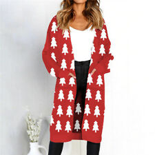 Womens Winter christmas Leopard Cardigan Coat Tops Ladies Knitted Sweater Jumper