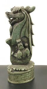 Green Aventurine Dragon Sculptures 11 inch Natural Jade Carved Stone