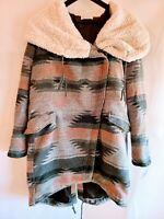 Aeropostale Tokyo Darling Womens XS Sherpa Hooded Zip Front Blanket Coat NWT