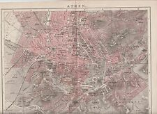 1890 GREECE ATHENS City Plan Antique Map