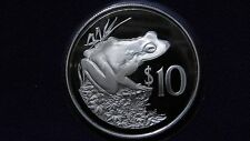 1986 Fiji $10 Fijian Ground Frog Silver Proof Coin