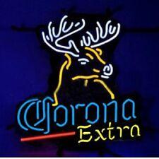 """New Corona Extra Beer Deer Bar Neon Light Sign 24""""x20"""""""