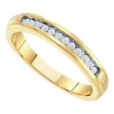 10kt Yellow Gold Womens Round Diamond Single Row Wedding Band 1/8Cttw