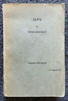 JAWS by Peter Benchley RARE Uncorrected Proof Copy dated 16th August 1973 Shark
