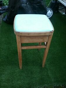 Vintage Retro Wooden kitchen stool light Blue seat top and storage 1960s