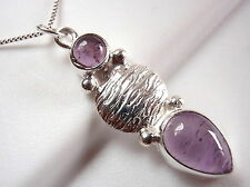 Amethyst Pendant 925 Sterling Silver Tribal Style Double Gem Stone New