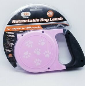 RETRACTABLE DOG PET LEASH  UP TO 66 LBS 26' FEET ROPE CORD LEAD HEAVY DUTY PINK