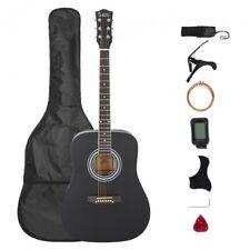 Glarry GT508 41in Solid Top Folk Acoustic Guitar Dreadnought Black + Bag/Strap