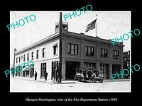 OLD LARGE HISTORIC PHOTO OF OLYMPIA WASHINGTON, THE FIRE DEPARTMENT STATION 1925