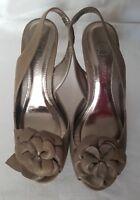 Next Women's Ladies Taupe Leather Sandals Flower design Shoe UK Size 3.5 EU 36