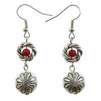 Boucles D'oreilles femme anneau torsade perle argentées Argent Tibetain et rouge