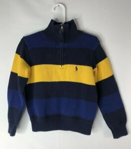 Polo by Ralph Lauren boy's size 4  sweater navy black & yellow 1/4 zip front