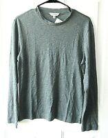 New Club Monaco Women's Size Small Long Sleeve Green Gray 100% Linen Top