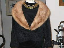 Cropped black broadtail & Mink fur coat jacket bolero