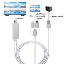 3 IN 1 HDMI Cable HDTV Adapter AV Cable 1.8M For IPhone Micro USB Type C to HDMI