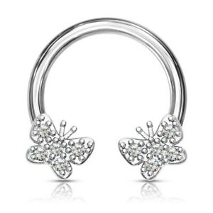 16G 8MM JEWELED BUTTERFLY SURGICAL STEEL HORSESHOE RING CIRCULAR BARBELL