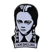 Wednesday Addams I am smiling Gothic Horror Enamel Pin Badge UK Stock Free P&P