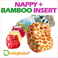 Reusable Pocket Real Cloth Nappy + BAMBOO Insert (Velcro or Popper Fastenings)