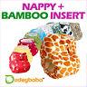 Reusable Pocket Real Cloth Nappy+BAMBOO Insert Hook & Loop or Popper Fastenings