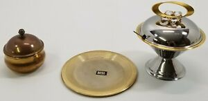 VC) Vintage Lot of Gold and Silver Plated Sugar Pedestal Containers Plate Italy