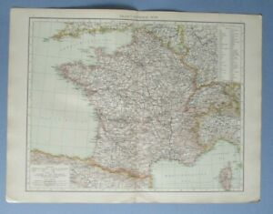 """1895 The Times Full Colour Map France (General) Inc Corsica, Andorra 16"""" x 22"""""""