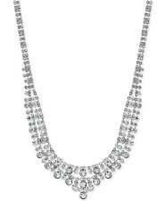 Charter Club Silver-Tone Two-Row Crystal Collar Necklace