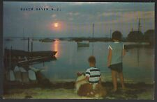 NEW JERSEY POSTCARD VINTAGE LBI BEACH HAVEN  SUNSET OVER THE BAY