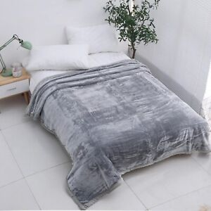 Large Luxury Faux Fur Throw Sofa Bed Mink Soft Warm Blanket Double Silver Grey