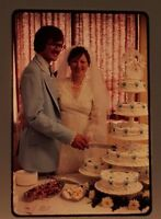 1970s Wedding 35 mm slides Amateur cake cutting powder blue tuxedo Lot 8