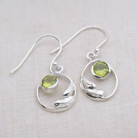 Round Cut Natural Peridot Gemstone 925 Sterling Silver Jewelry Earrings