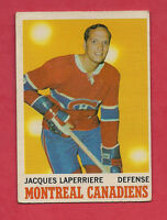 1970-71 OPC  # 52 CANADIENS JACQUES LAPERRIERE CARD