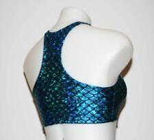 Crop top in Aqua/Blue Mermaid Print Spandex! Great for Festivals, Clubwear, Swim