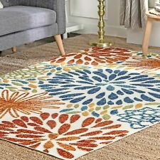 nuLOOM Bohemian Indoor/Outdoor Transitional Floret Area Rug in Multi
